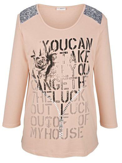 MIAMODA Sweatshirt mit glitzernden Pailletten an den Schultern