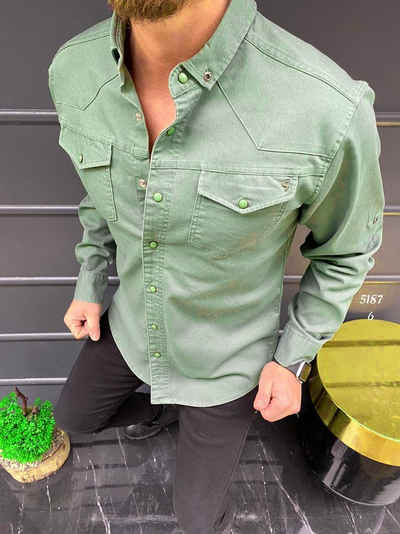Megaman Jeans Langarmhemd »Premium Herren Hemd Basic Freizeithemd dickes Hemd Unifarben Langarm Slim-Fit 100% Baumwolle«