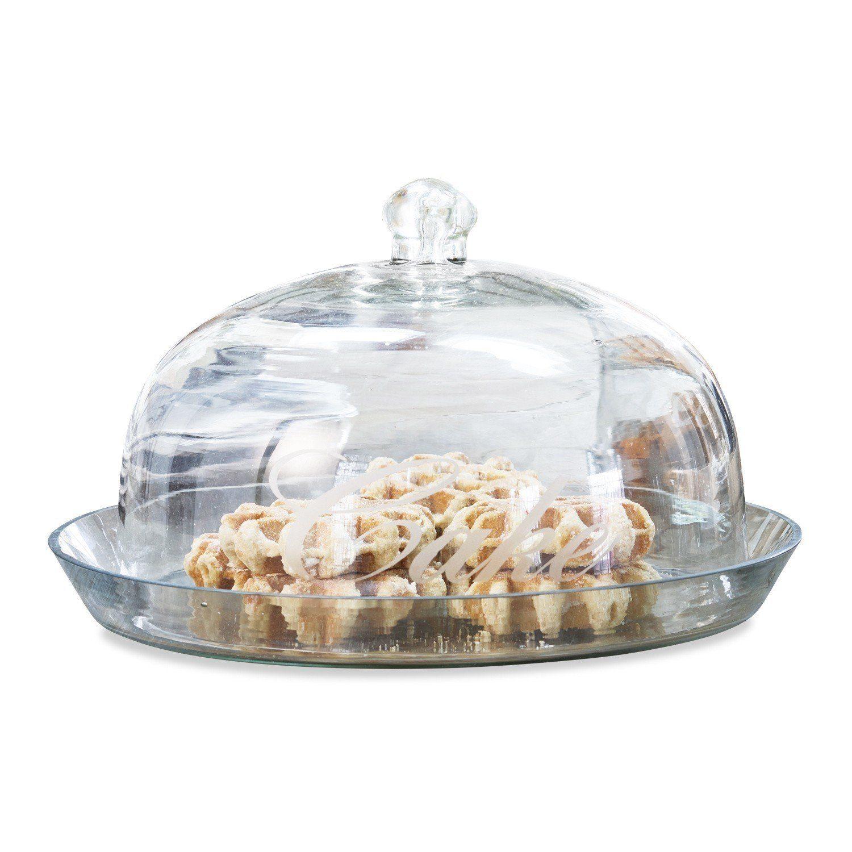 Loberon Glasglocke mit Platte »Gâteau«