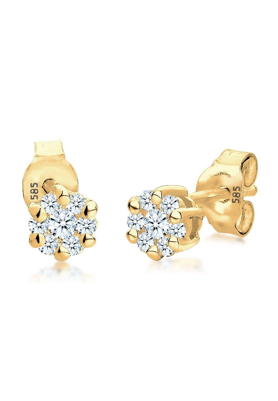 Diamore Paar Ohrstecker »Blume Diamant (0.30 ct) 585 Gelbgold«