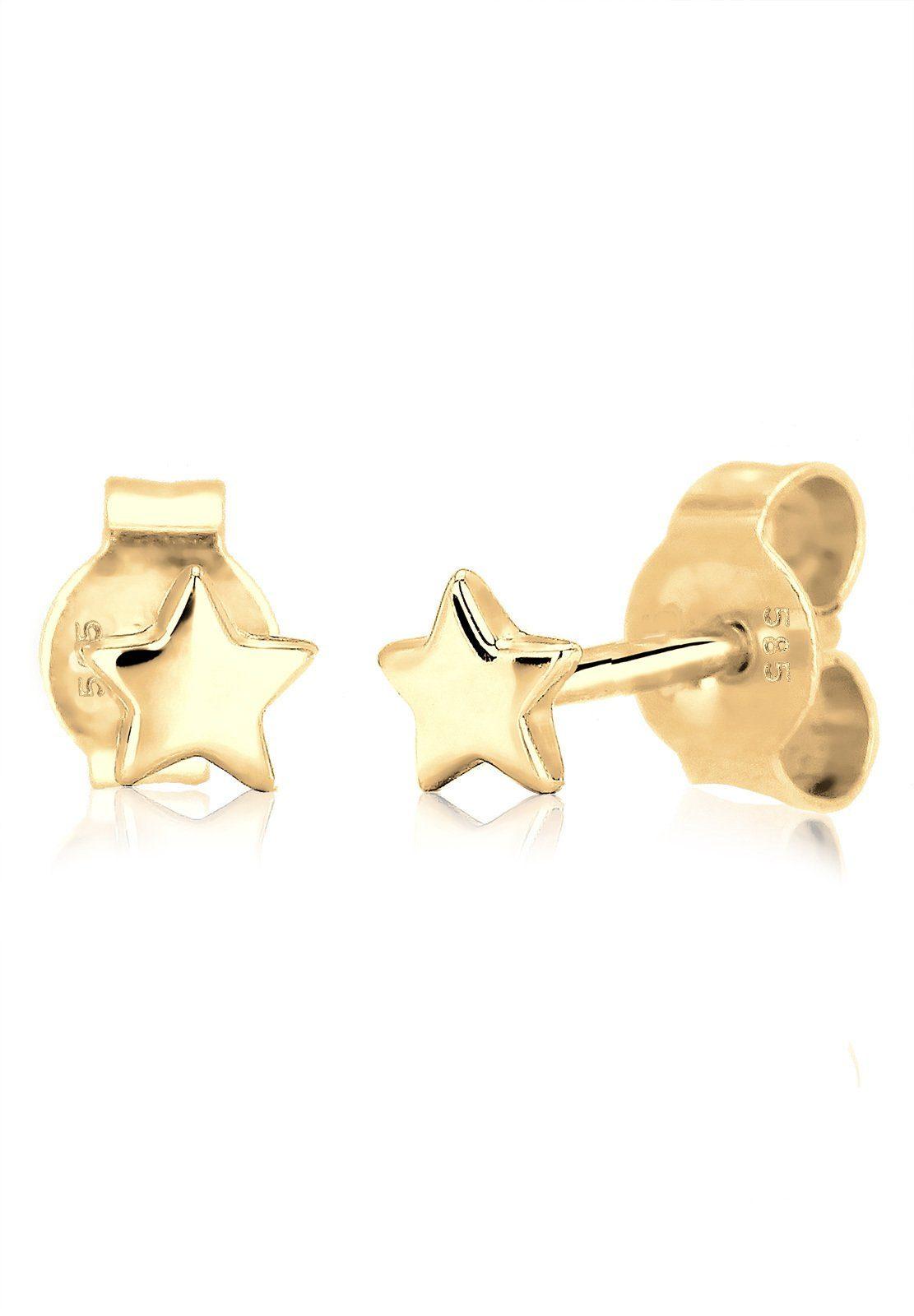 Elli Paar Ohrstecker »Sterne Stern Astro Trend Star 585 Gelbgold«
