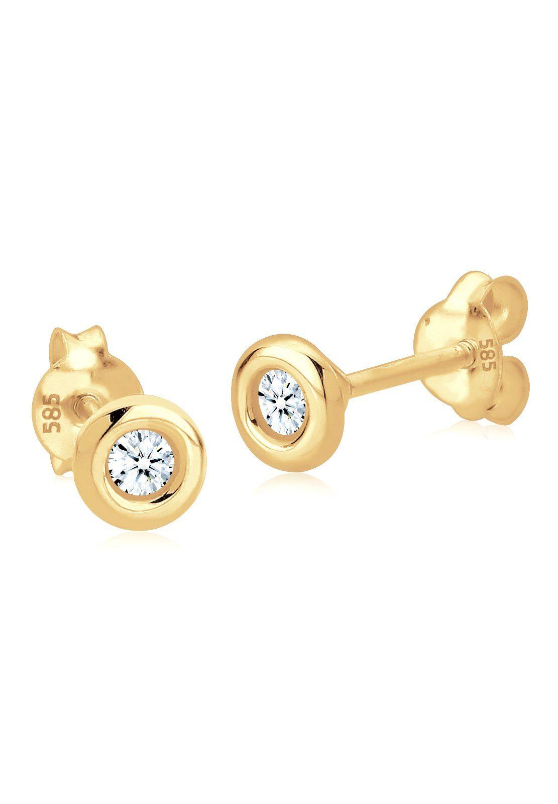 Diamore Paar Ohrstecker »Klassisch Solitär Diamant (0.12 ct) 585 Gelbgold«