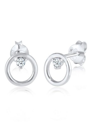 Diamore Paar Ohrstecker »Kreis Basic Diamant (0.06 ct) 925 Sterling Silber«