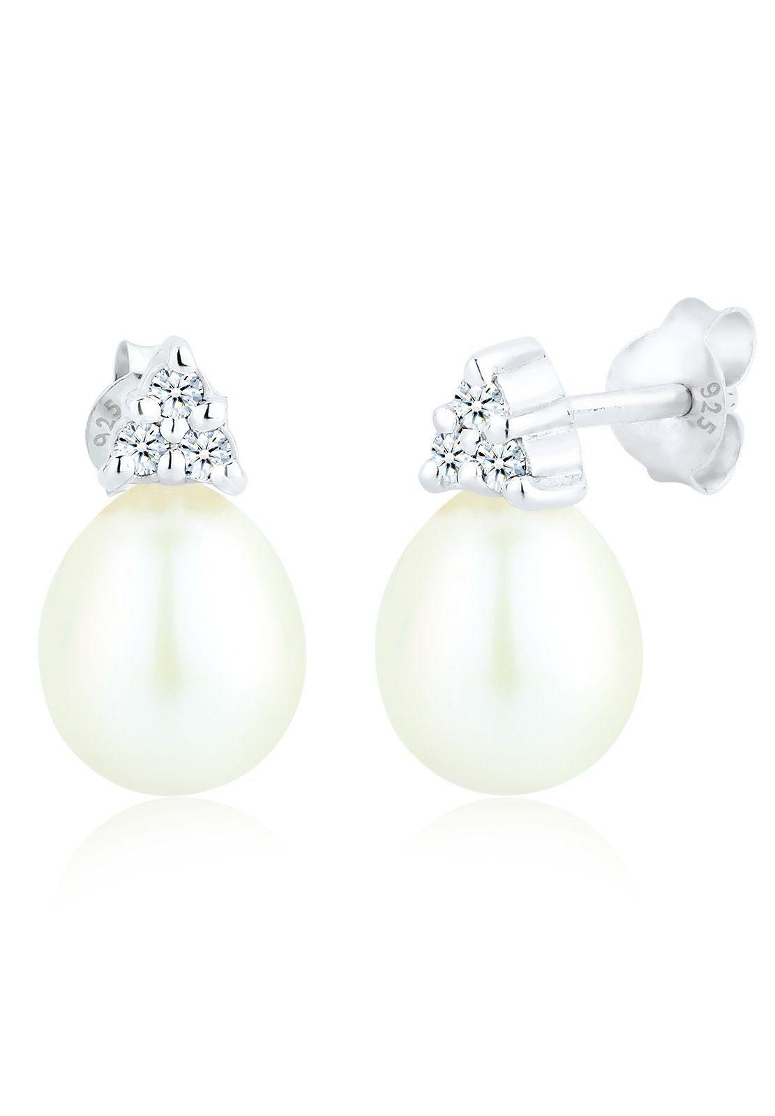 Diamore Paar Ohrstecker »Diamant Süßwasserzuchtperle Elegant 925 Silber«
