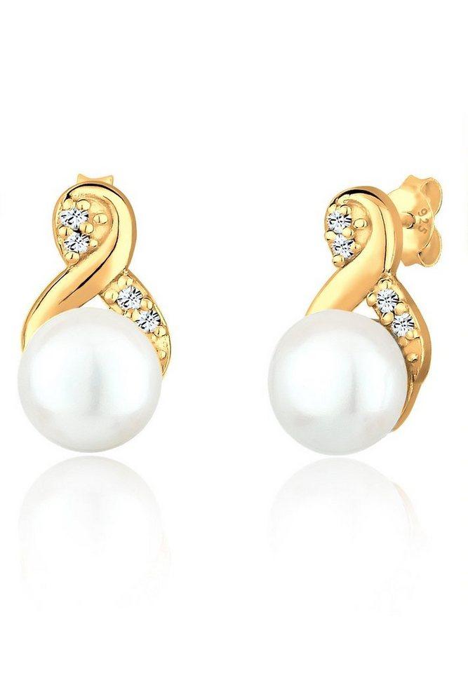 PERLU Paar Ohrstecker »Infinity Perle Swarovski® Kristalle 925 Silber« | Schmuck > Ohrschmuck & Ohrringe > Ohrstecker | Goldfarben | PERLU