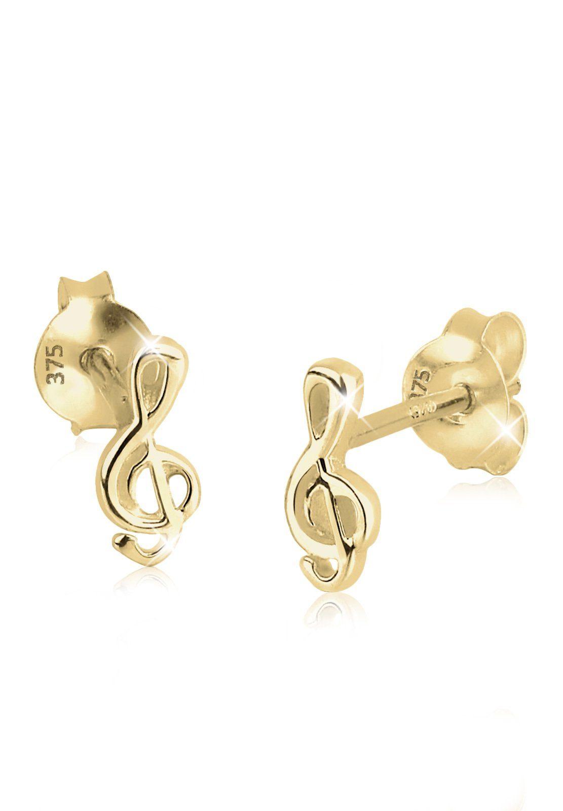 Elli Ohrringe »Kinder Notenschlüssel Filigran 375 Gelbgold«
