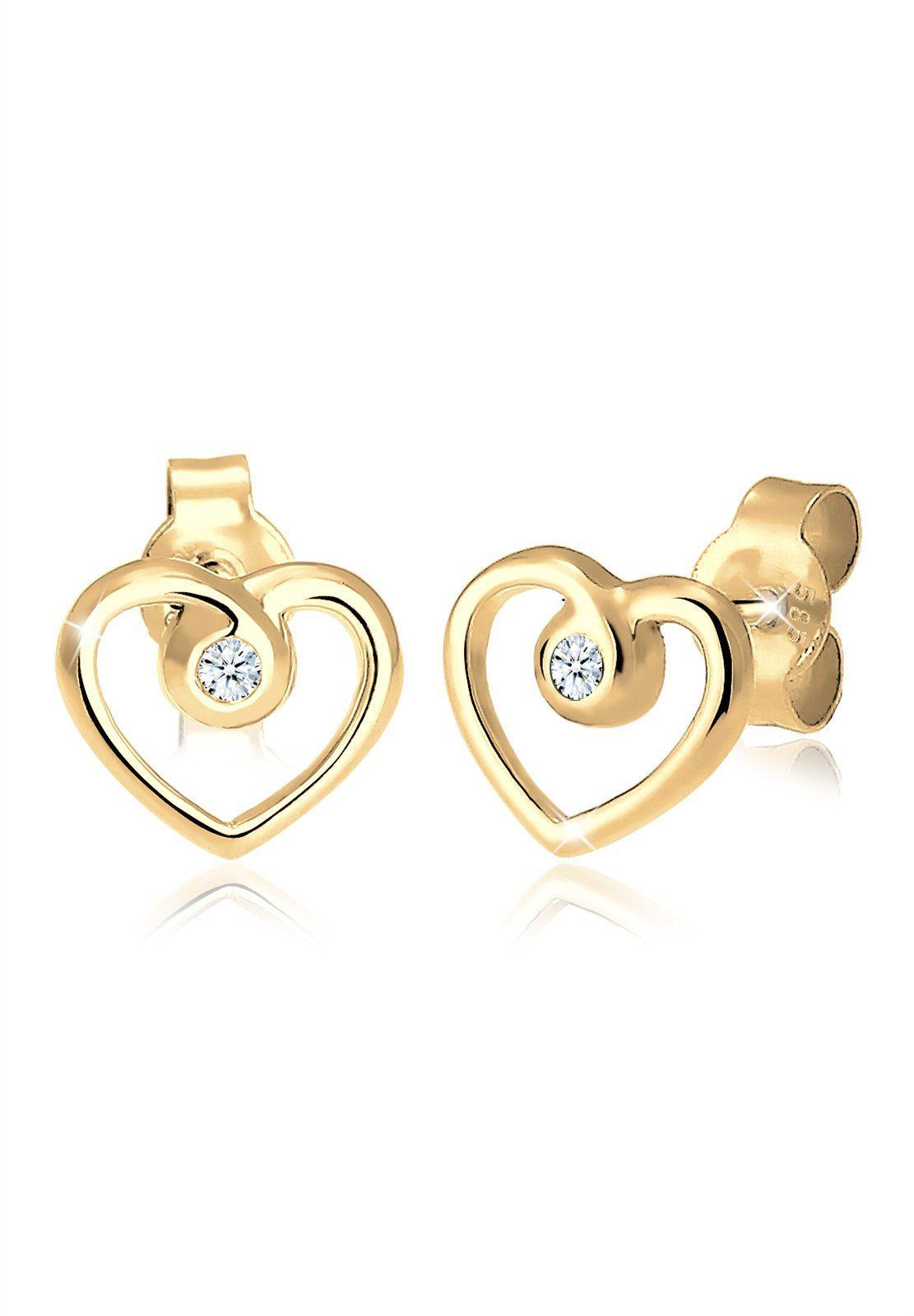 Diamore Ohrringe »Herz Liebe Diamant (0.04 ct.) 585 Gelbgold«