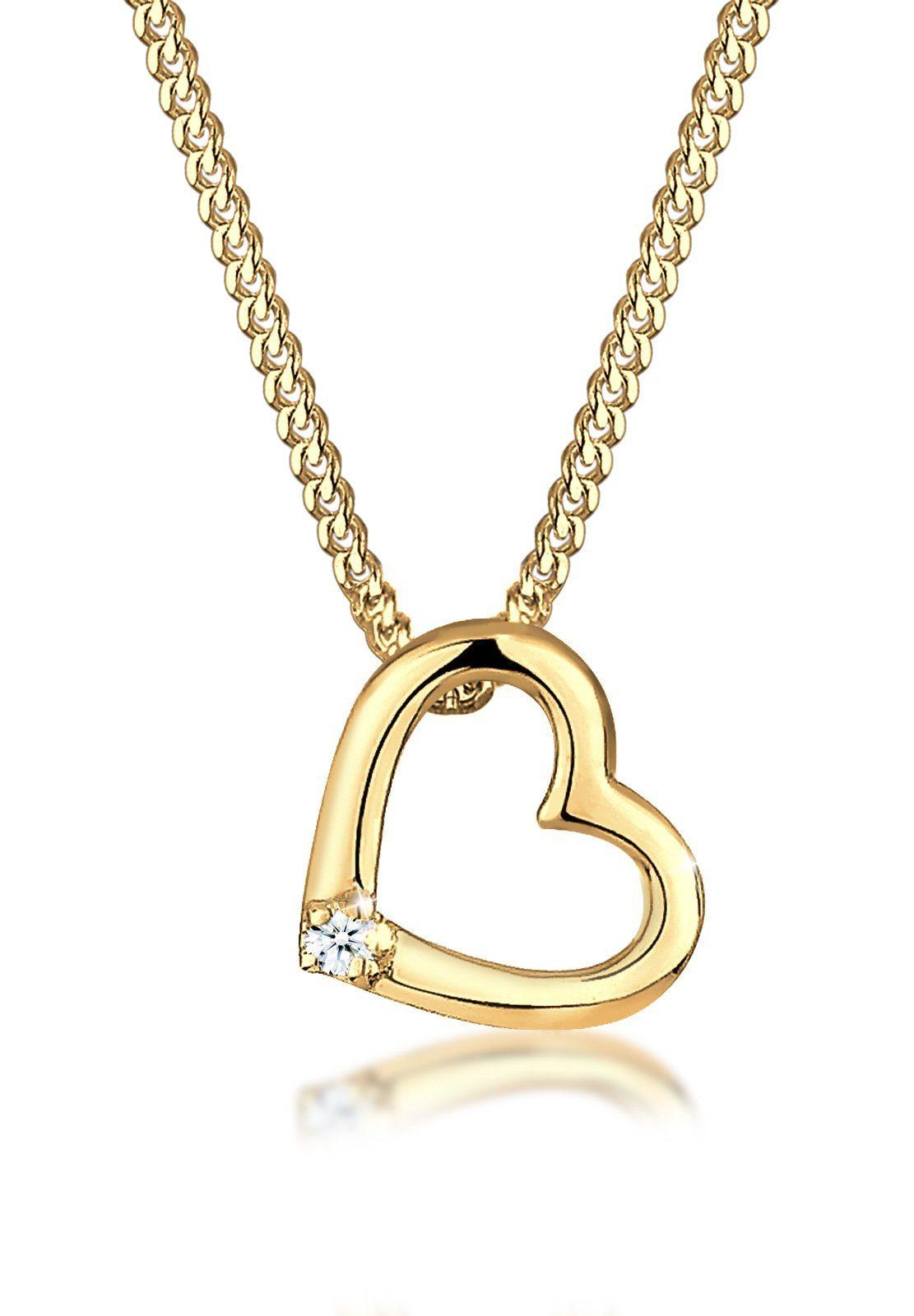 Diamore Collierkettchen »Herz Liebe Diamant (0.02 ct) Love 585 Gelbgold«