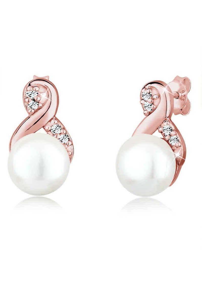 Elli Paar Ohrstecker »Infinity Perle Kristalle 925 Silber«