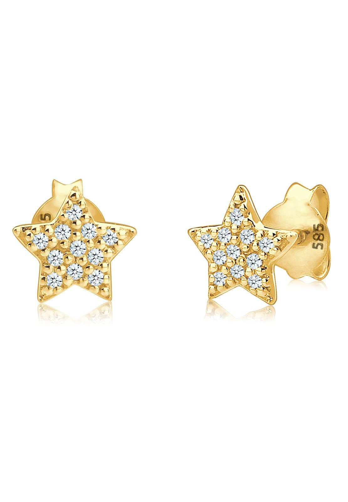 Diamore Paar Ohrstecker »Sterne Astro Trend Diamant (0,22 ct) 585 Gelbgold«