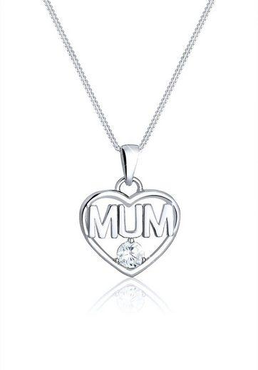 Elli Collierkettchen »Muttertag Herz Mum Wording Zirkonia 925 Silber«