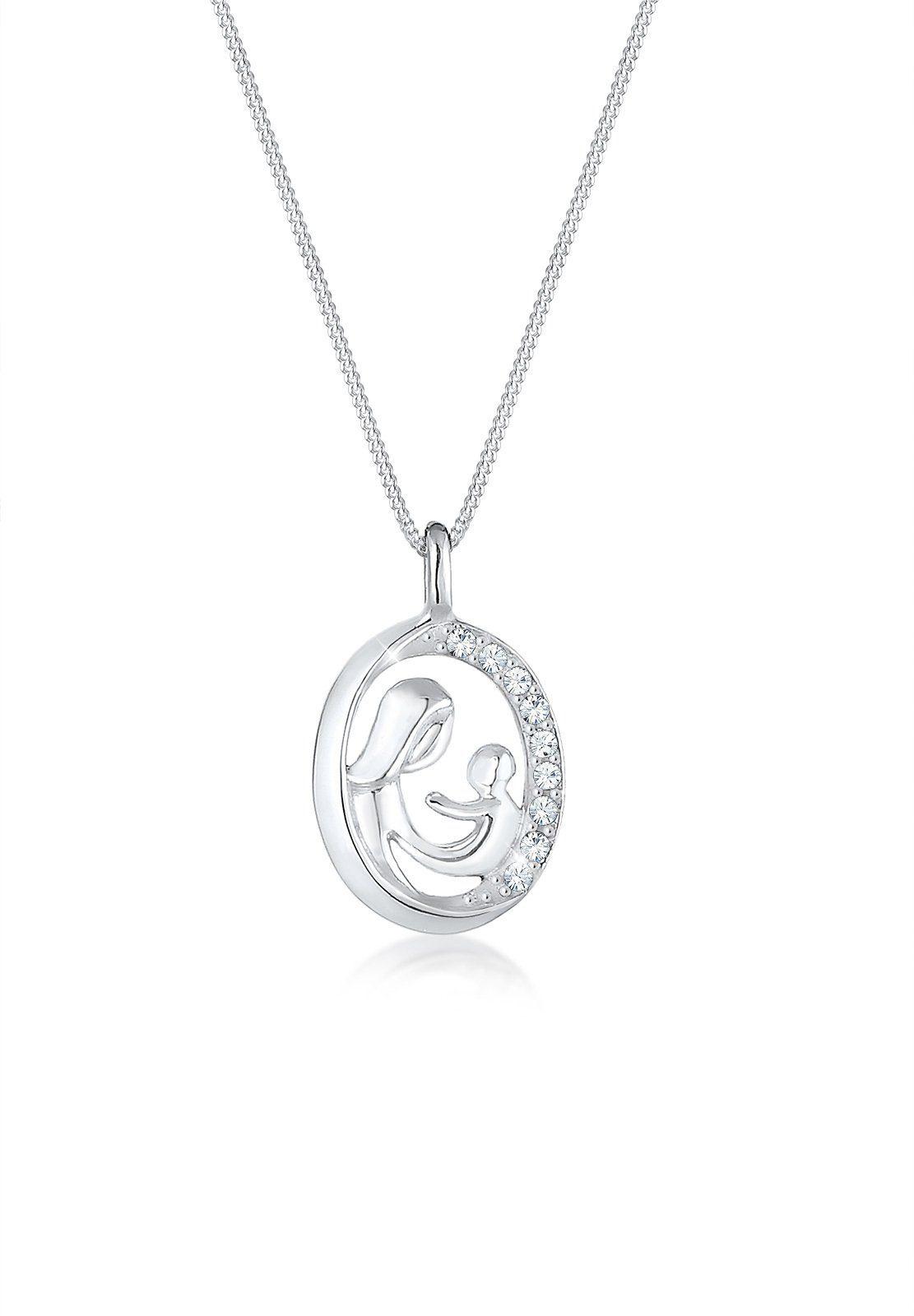 Elli Collierkettchen »Mutter Kind Figur Swarovski® Kristalle 925 Silber«