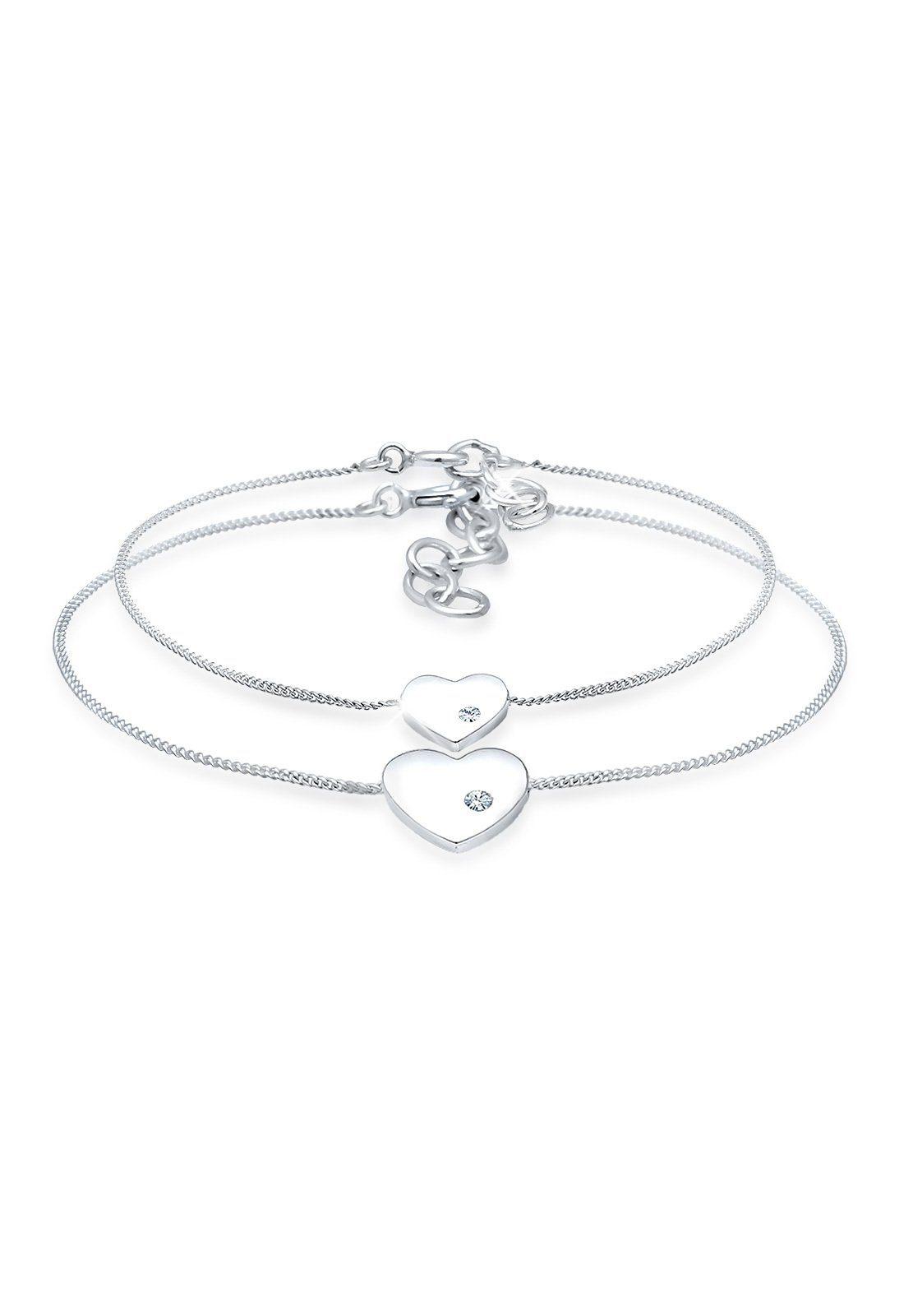 Elli Set: Armband »Herz Mutter Kind Swarovski® Kristalle Silber« 2 tlg.
