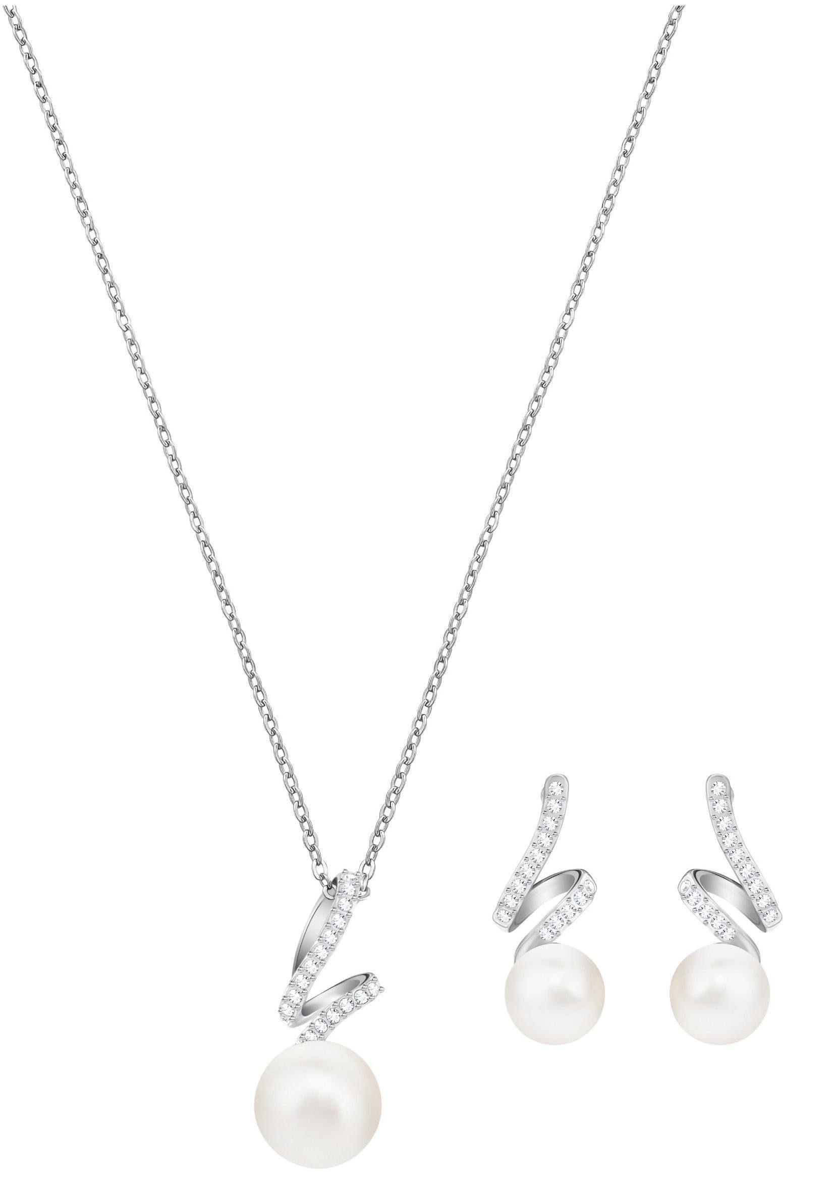 Swarovski Ohrring und Ketten Set »Gabriella Pearl Set, weiss, rhodiniert, 5410975« (Set, 3 tlg) mit Swarovski® Kristallen und Swarovski® Perlen