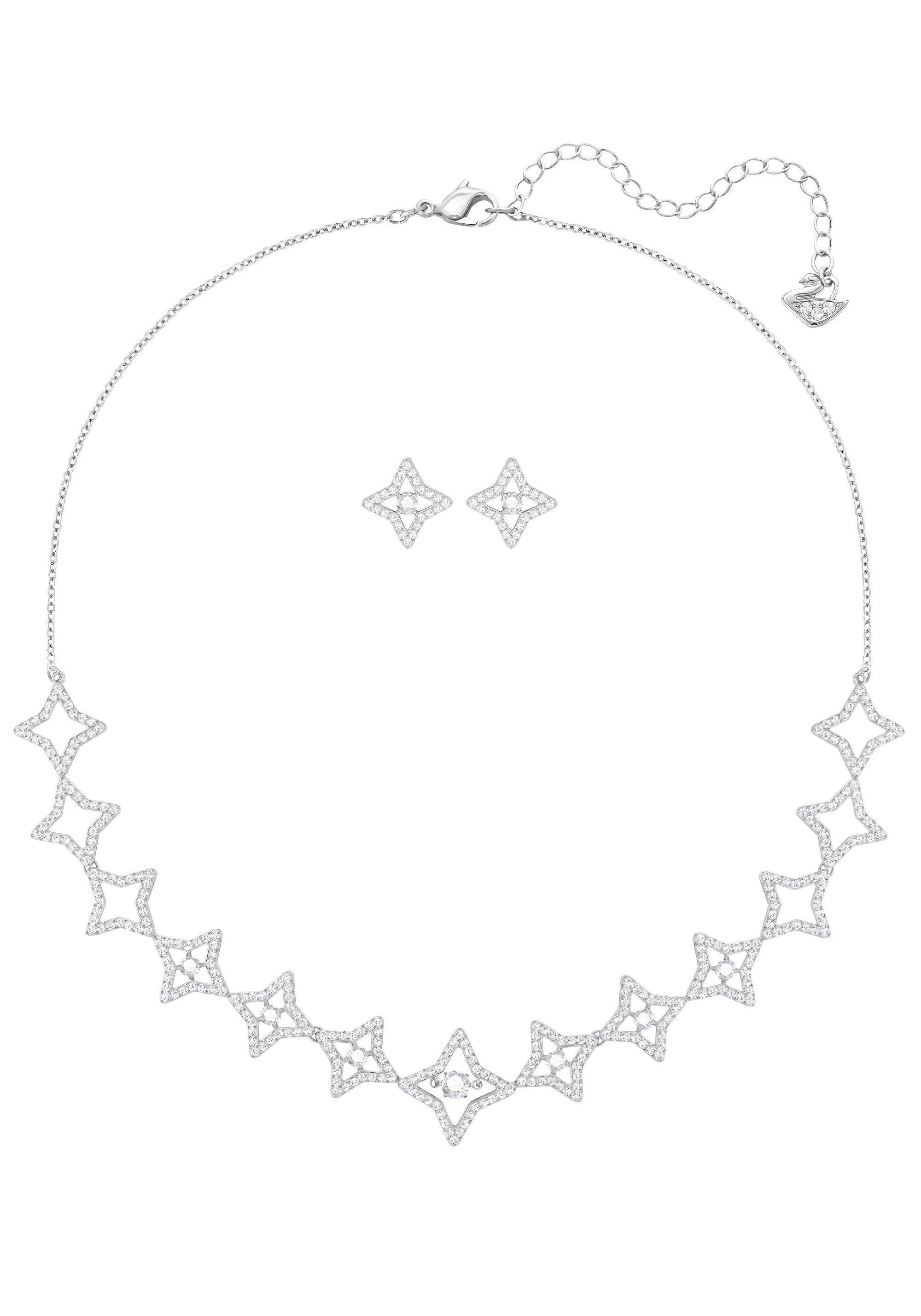 Swarovski Ohrring und Ketten Set »Sparkling Dance Star Set, mittel, weiss, rhodiniert, 5364217« (Set, 3 tlg) mit Swarovski® Kristallen