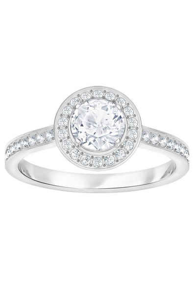 Swarovski Fingerring »Attract Light Round, weiss, rhodiniert, 5412024, 5409189, 5368545, 5409187, 5412053«, mit Swarovski® Kristallen