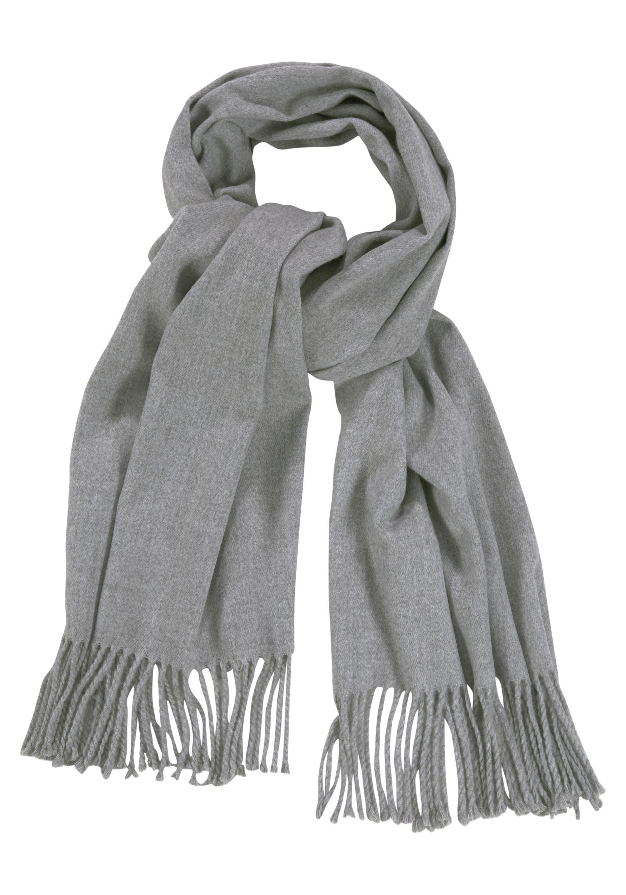 Object Modeschal Feiner Schal mit Wolle, Fransen