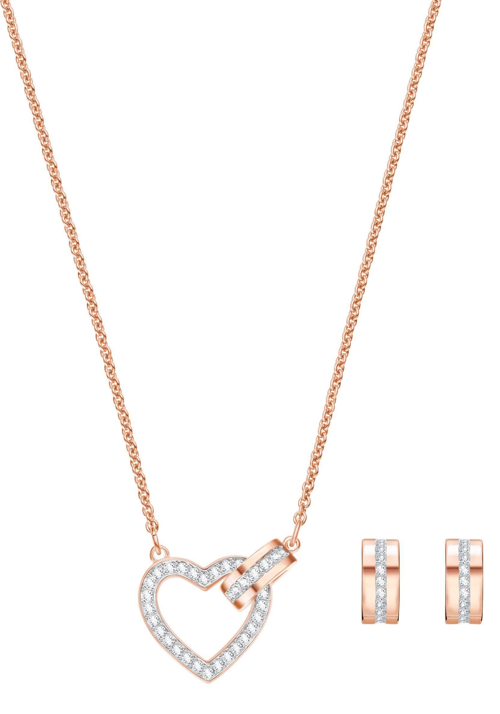 Swarovski Ohrring und Ketten Set »Herz, Lovely Set, weiss, rosé Vergoldung, 5380718« (Set, 3 tlg) mit Swarovski® Kristallen