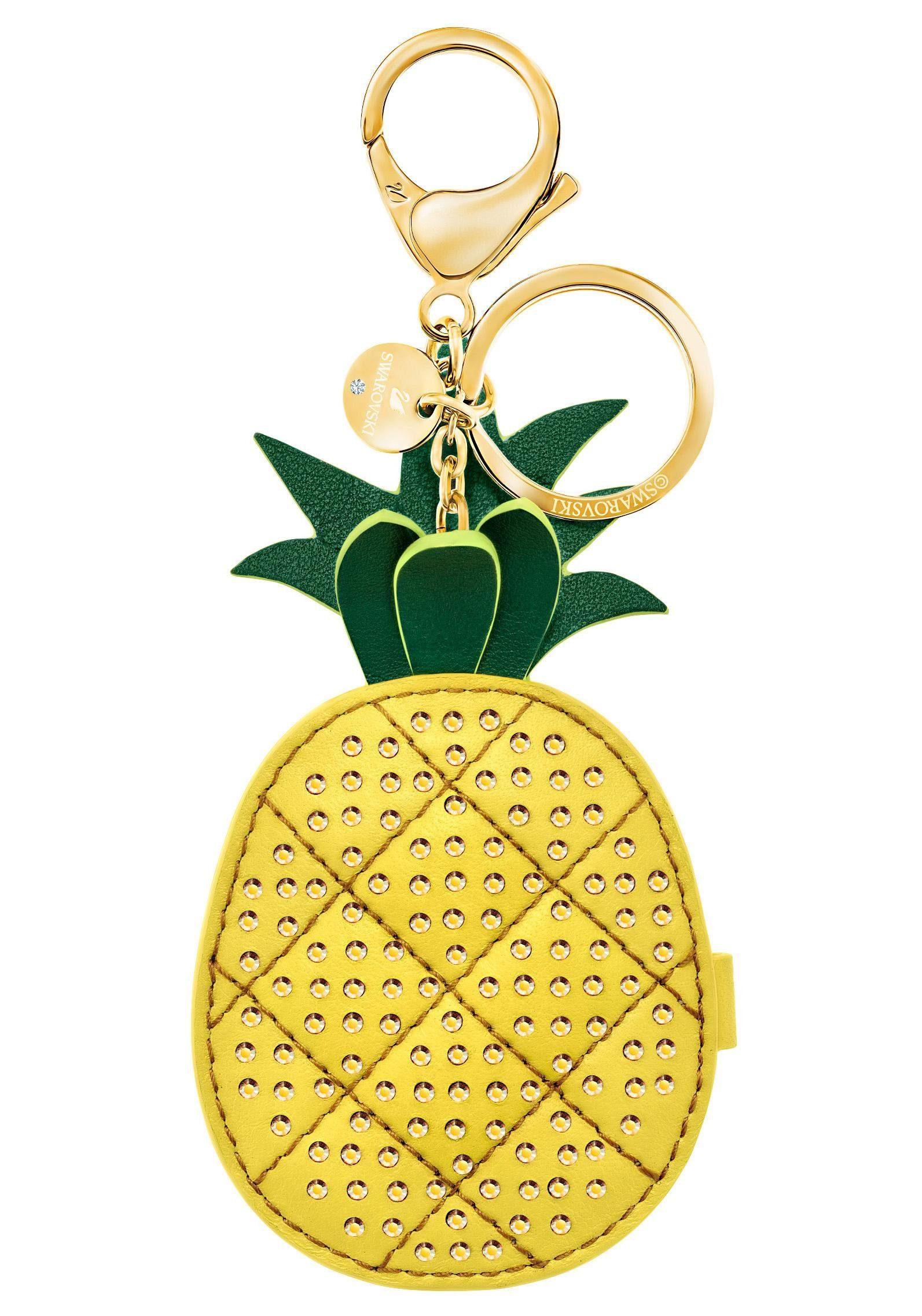 Swarovski Schlüsselanhänger »Ananas, Lime Handtaschen-Charm, gelb, vergoldet, 5380319« mit Swarovski® Kristallen