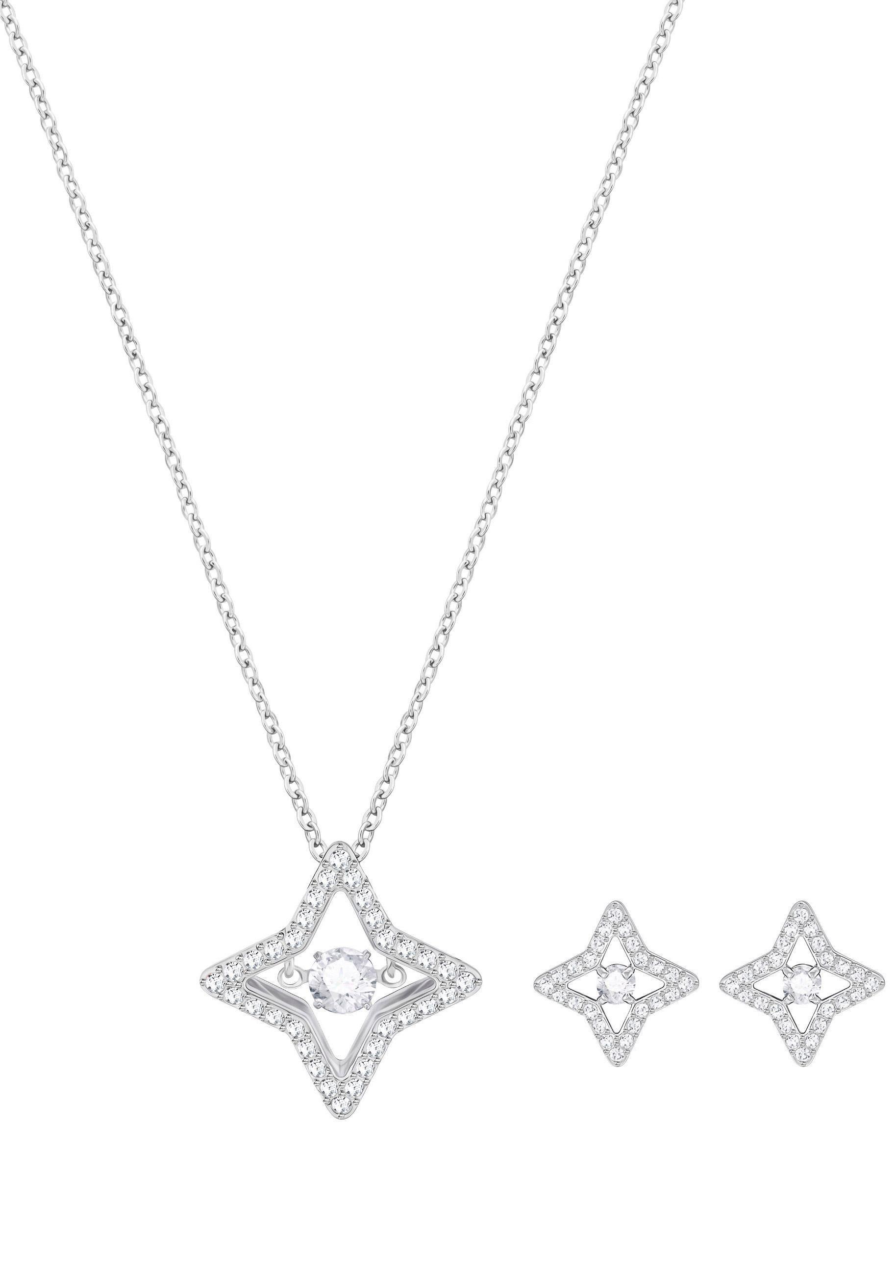 Swarovski Ohrring und Ketten Set »Sparkling Dance Star Set, klein, weiss, rhodiniert, 5349667« (Set, 3 tlg) mit Swarovski® Kristallen