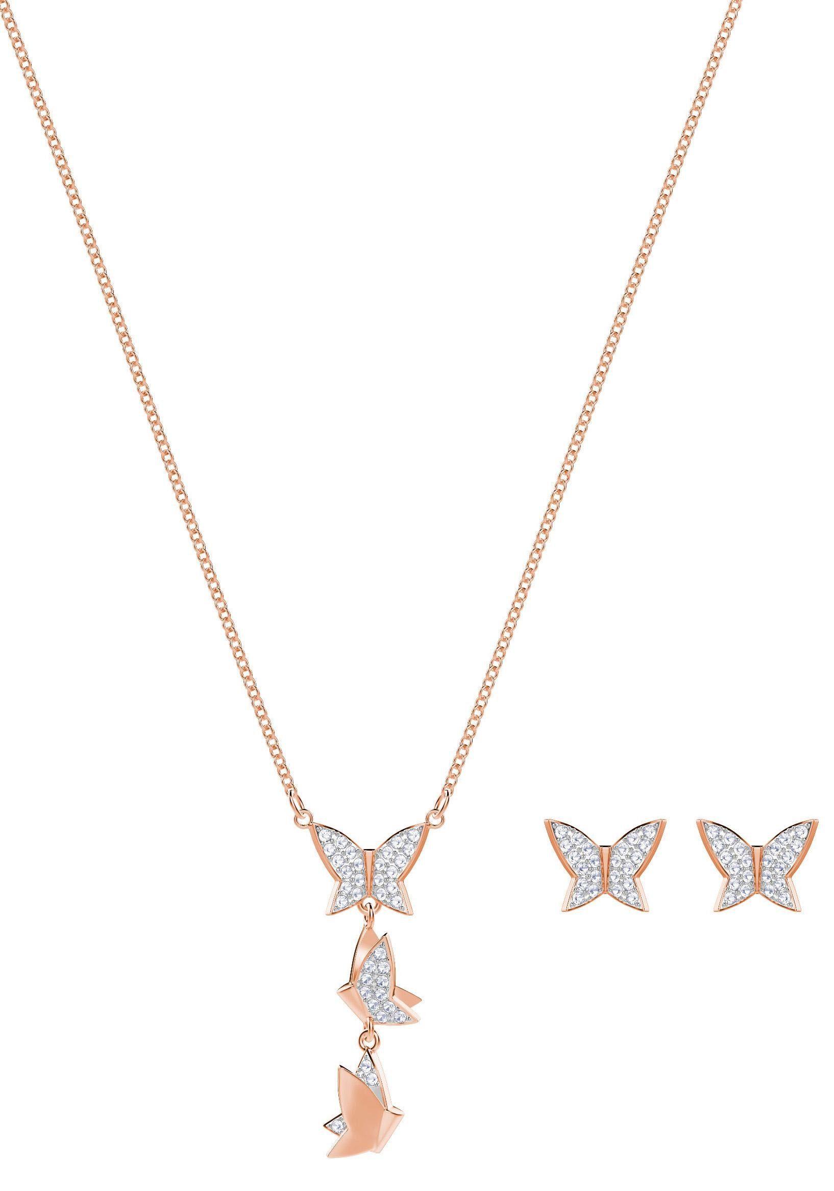 Swarovski Ohrring und Ketten Set »Schmetterlinge, Lilia Set, weiss, rosé Vergoldung, 5382365« (Set, 3 tlg) mit Swarovski® Kristallen