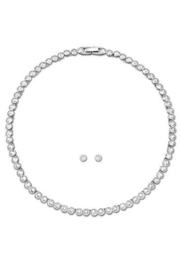 Swarovski Ohrring und Ketten Set »Tennis, weiss, rhodiniert, 5007747« (Set, 3-tlg), mit Swarovski® Kristallen