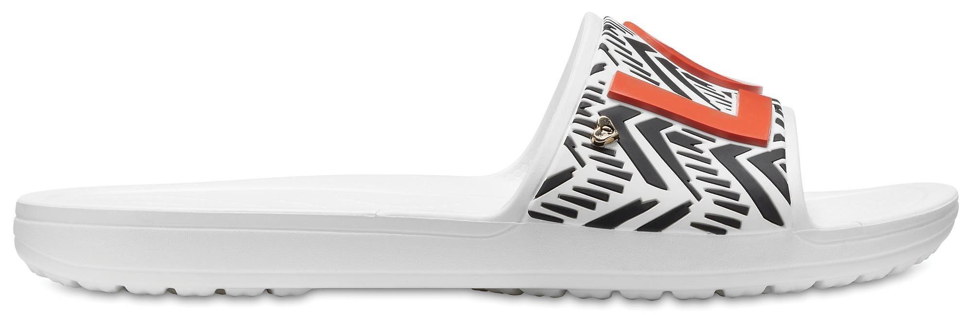 Crocs Drew Barrymore X Crocs Sloane Trib Sandal Pantolette, mit auffälligem LOVE Schriftzug online kaufen  weiß-schwarz
