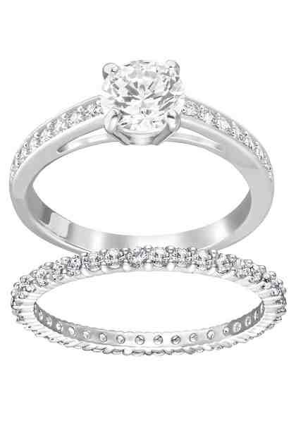 Swarovski Ring-Set »I Do Ringset, weiss, rhodiniert, 5184981, 5184979, 5184317, 5184980, 5184982« (Set, 2 tlg) mit Swarovski® Kristallen