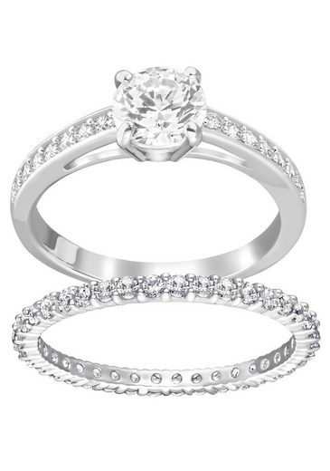 Swarovski Ring-Set »I Do, weiss, rhodiniert, 5184981, 5184979, 5184317, 5184980, 5184982« (Set, 2-tlg), mit Swarovski® Kristallen