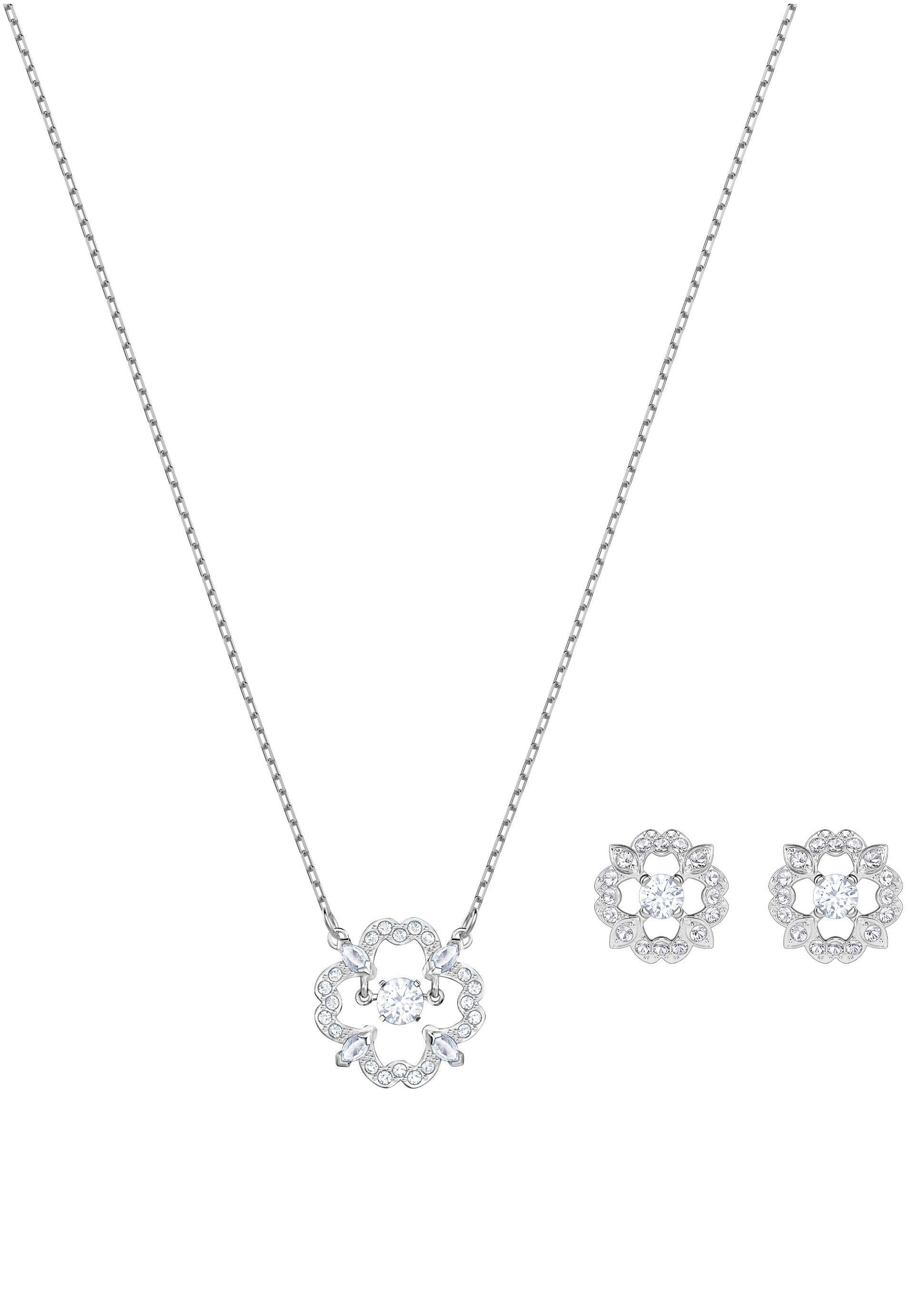 Swarovski Ohrring und Ketten Set »Blüten, Sparkling Dance Flower Set, weiss, rhodiniert, 5397867« (Set, 3 tlg) mit Swarovski® Kristallen