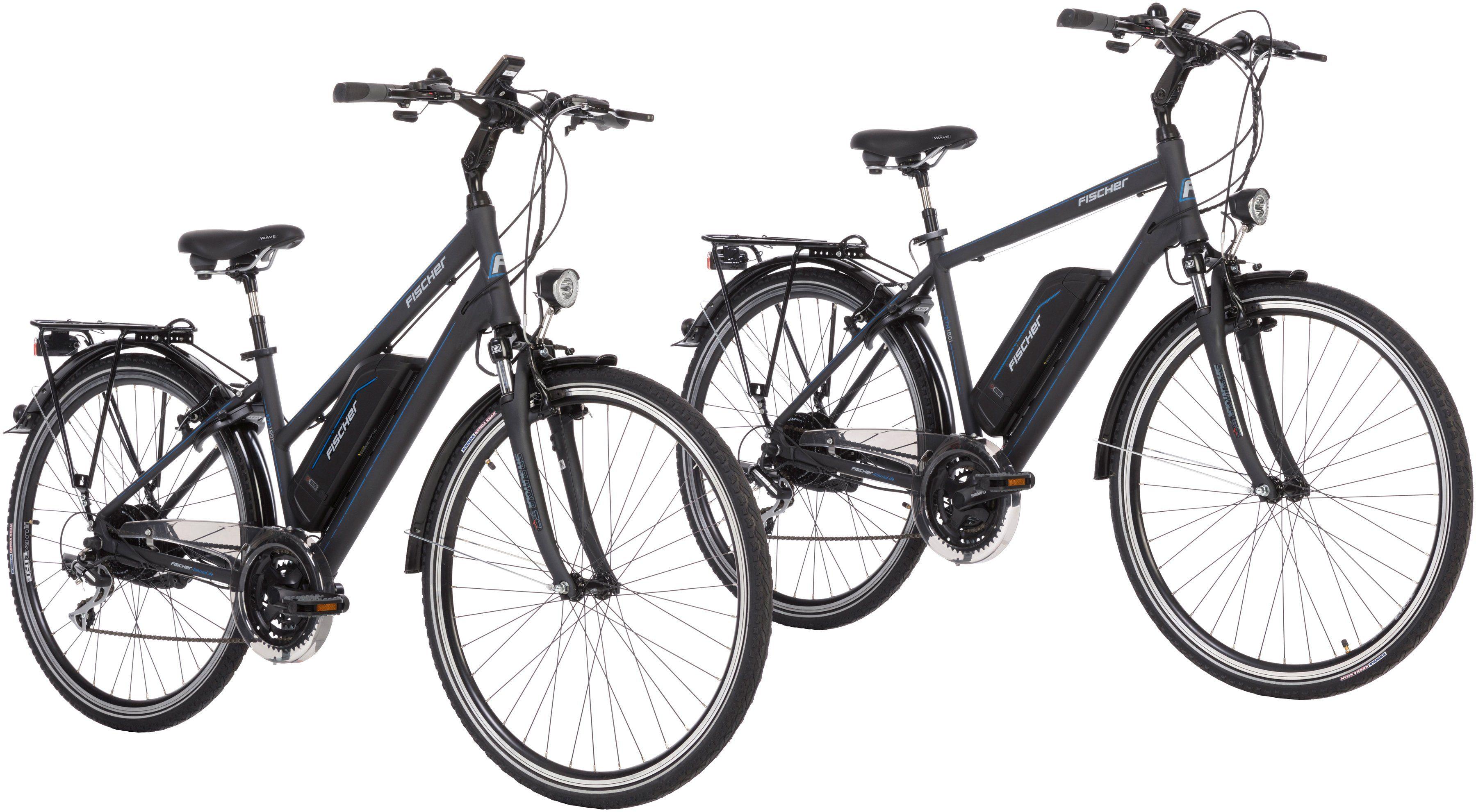 FISCHER FAHRRAEDER Set: E-Bike Trekking »ETD/ETH-1801«, 28 Zoll, 24 Gänge, Damen + Herren