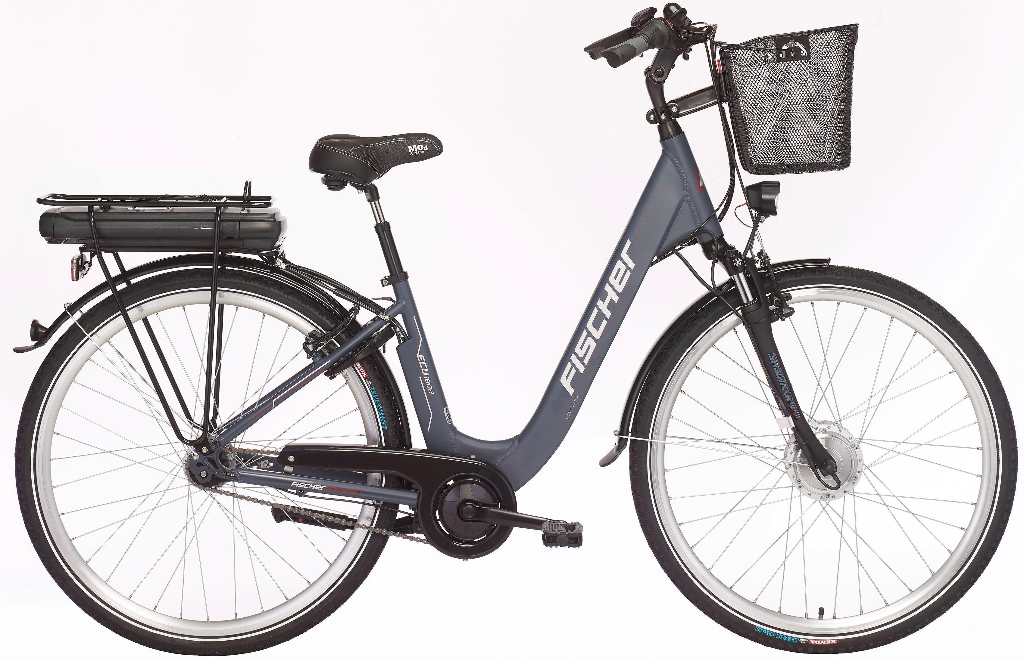 FISCHER City E-Bike, 36V/250W Vorderradmotor, 28 Z., 7-G.-Shimano Nabensch. m. Rücktritt, »ECU 1802« Modell 2018