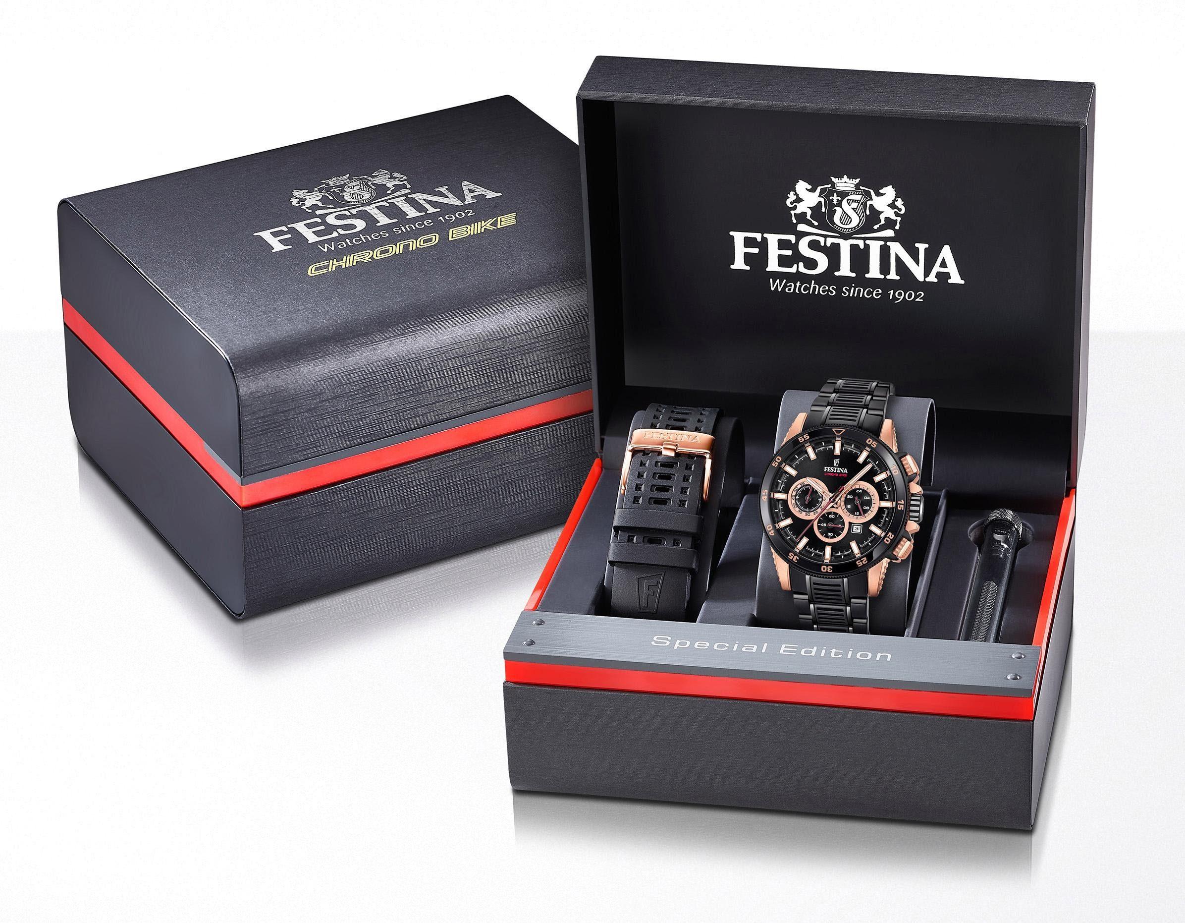 Festina Chronograph »Chrono Bike >>Special Edition<<, F20354/1« (Set, 3 tlg., mit 1 Wechselband und Schraubenzieher) mit dezentraler Sekunde