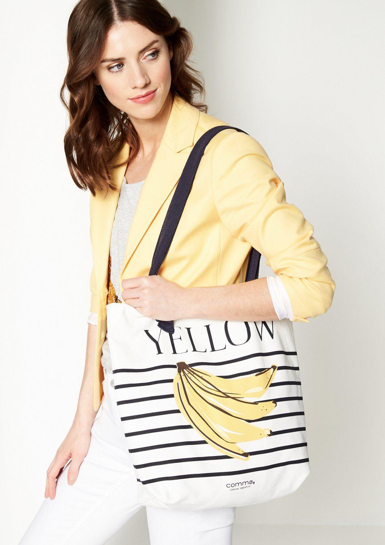 COMMA Tasche aus Segeltuch mit Bananen-Print