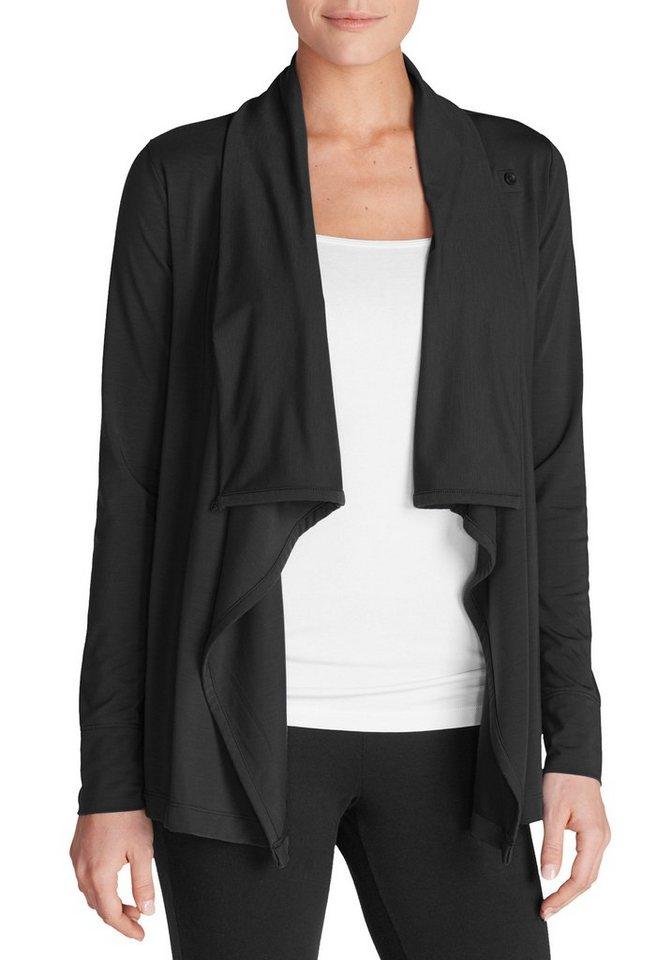 Damen Eddie Bauer  Sweatshirt Daisy Jacke mit Knopf schwarz | 04057682091471