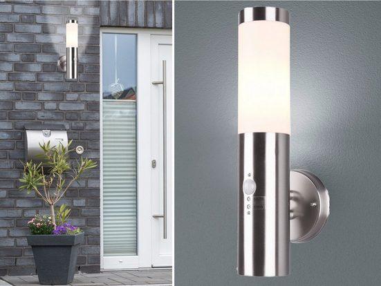 meineWunschleuchte Außen-Wandleuchte, Außenwandlampe mit Bewegungsmelder Edelstahl, Außenleuchten für Haus-Wand Fassaden-Beleuchtung Hausbeleuchtung IP44