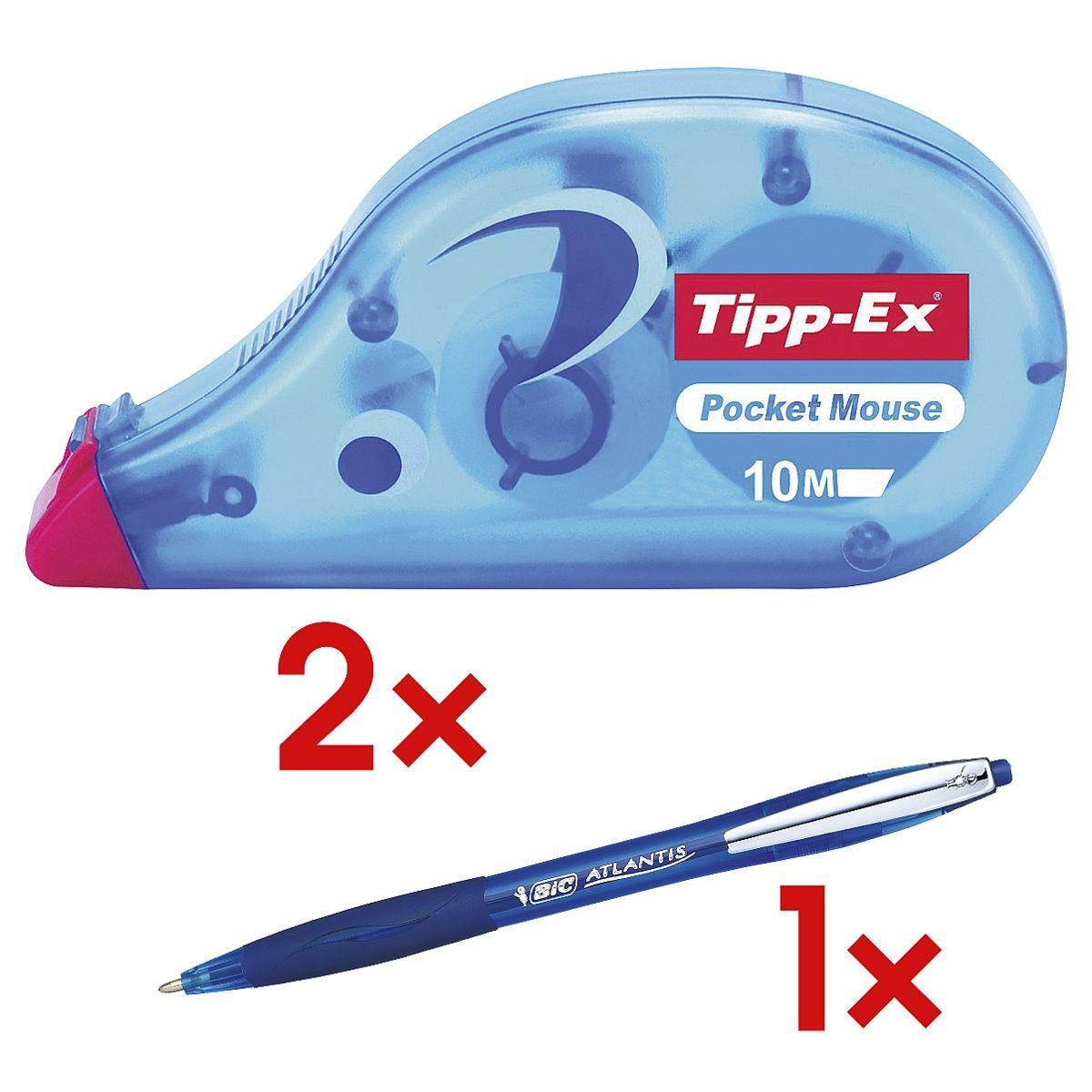 TIPPEX 2x Einweg-Korrekturroller inkl. 1x Kugelschreiber »Pocket Mouse« 1 Set