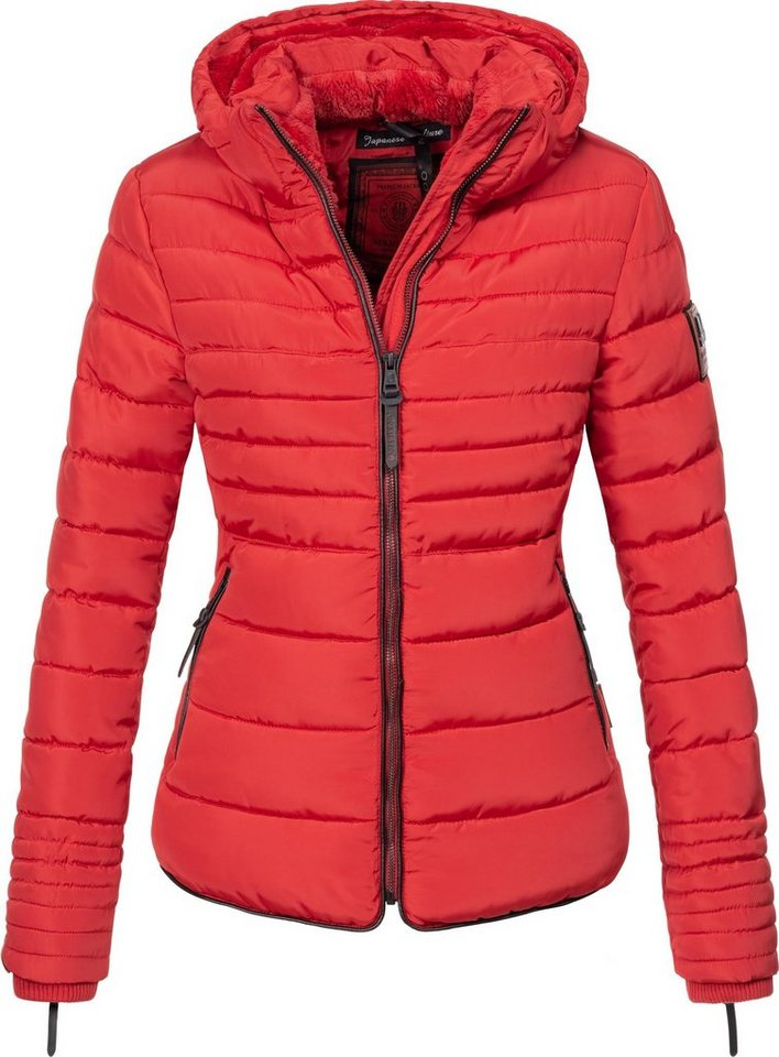 Damen Marikoo Steppjacke Amber stylische Winterjacke mit Stehkragen rot | 04059072002593