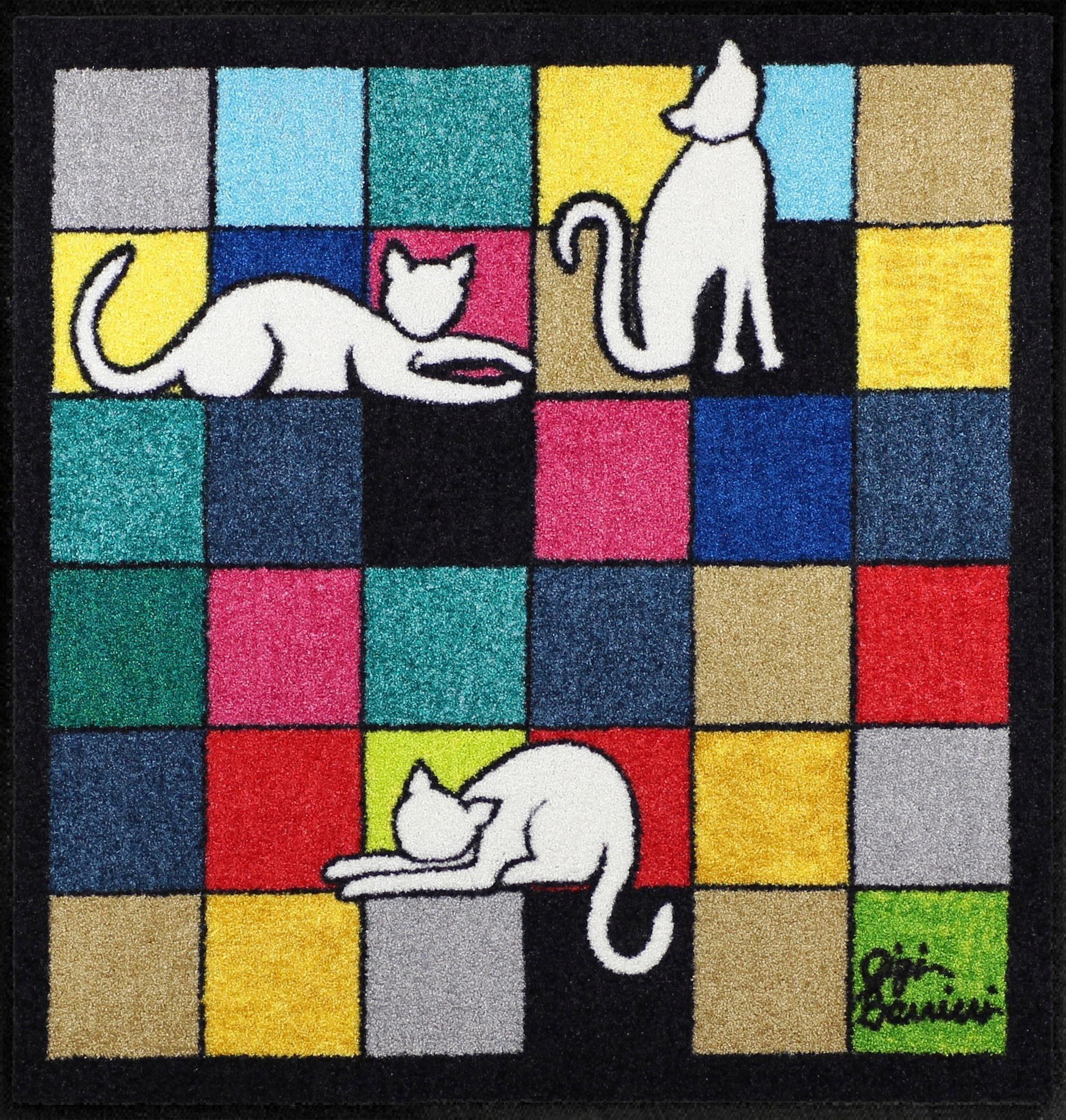 Fußmatte »Gatti Bianchi«, Salonloewe, quadratisch, Höhe 7 mm