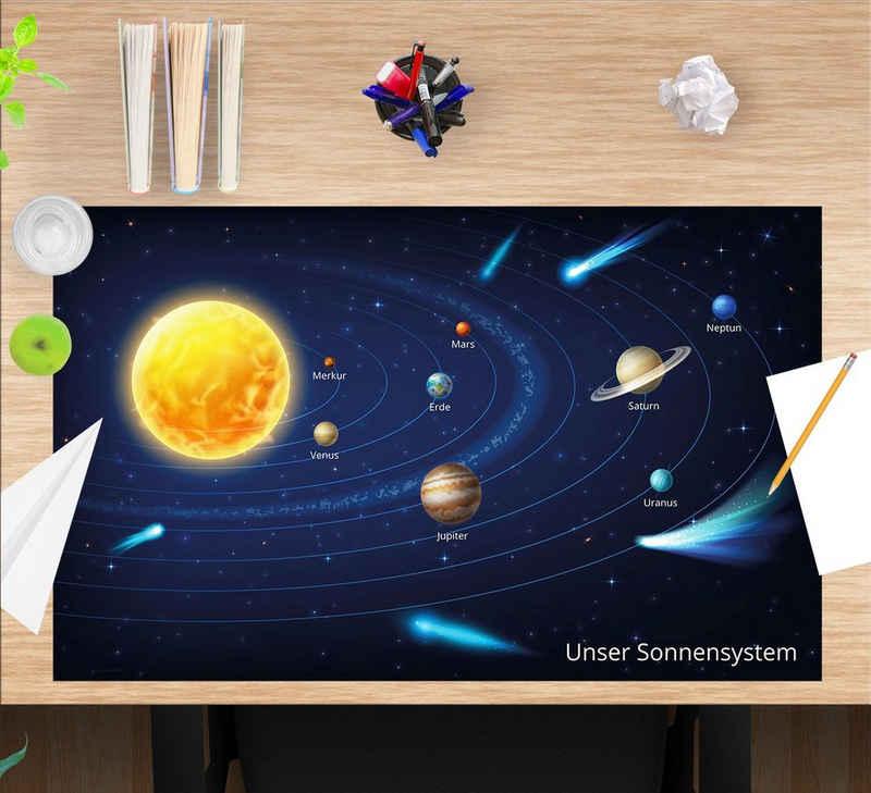 cover-your-desk.de Schreibtischunterlage »Unser Sonnensystem – 65 x 40 cm – Schreibunterlage aus Premium-Vinyl für Kinder und Erwachsene«, (1 tlg)