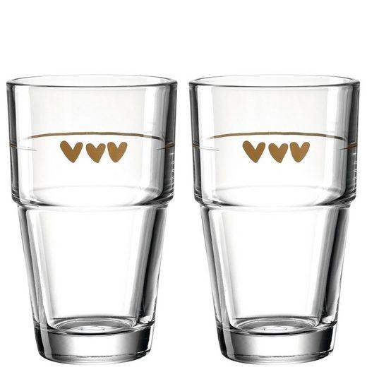 LEONARDO Gläser-Set »2 Becher 410ml Herzen Solo«, Glas