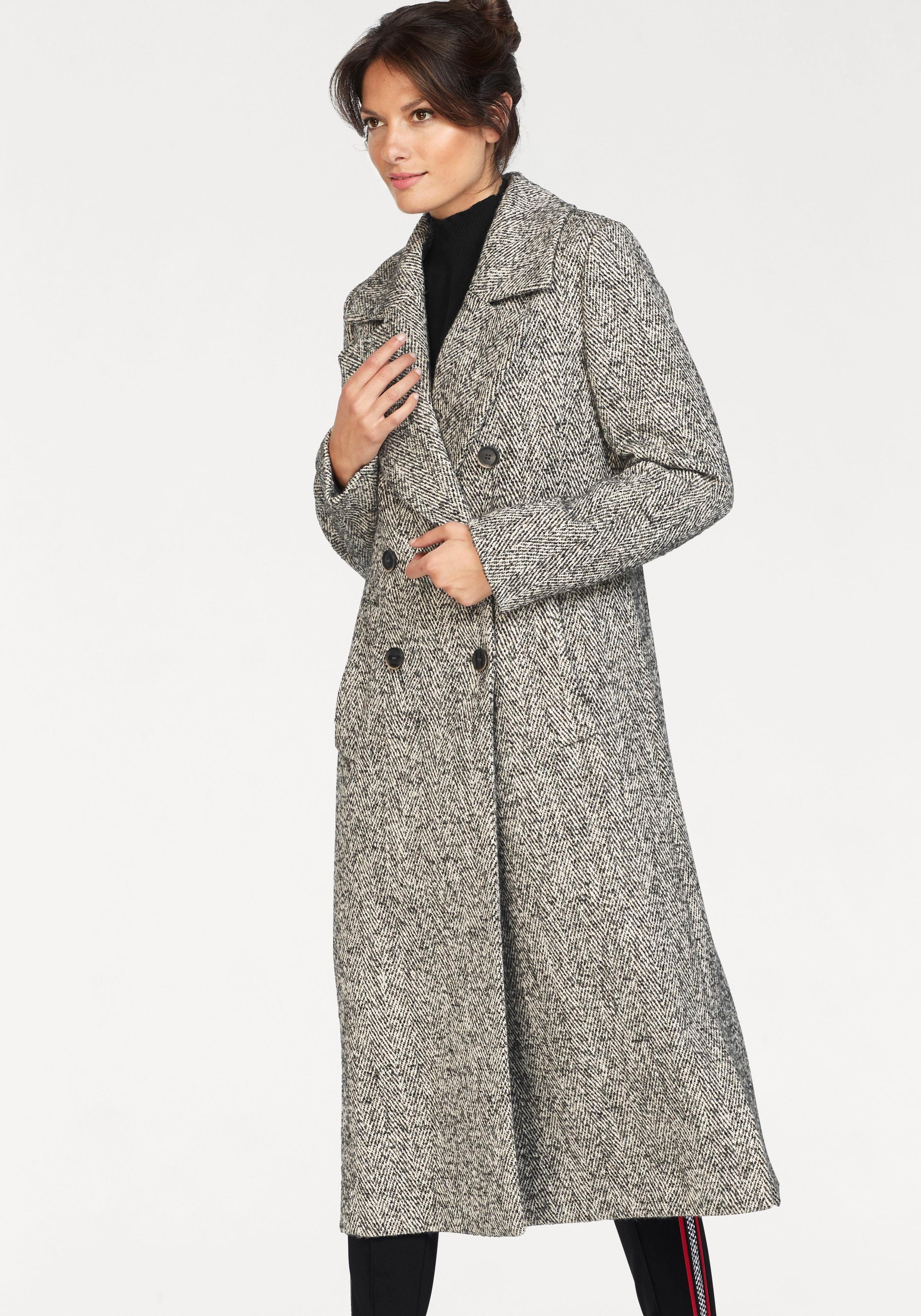 bugatti Langmantel aus hochwertiger Wolle mit Tweed-Opitik