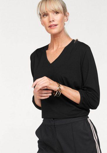 Olsen V-Shirt mit Raffung an Schulter