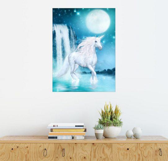 Posterlounge Wandbild - Dolphins DreamDesign »Einhorn - Mondenergie am Wasserfall«