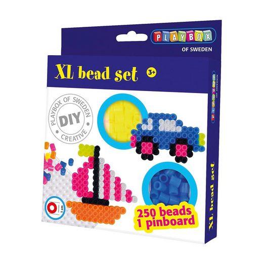 Playbox XL-Bügelperlen-Set Auto & Boot, 250 Perlen + Steckplatte