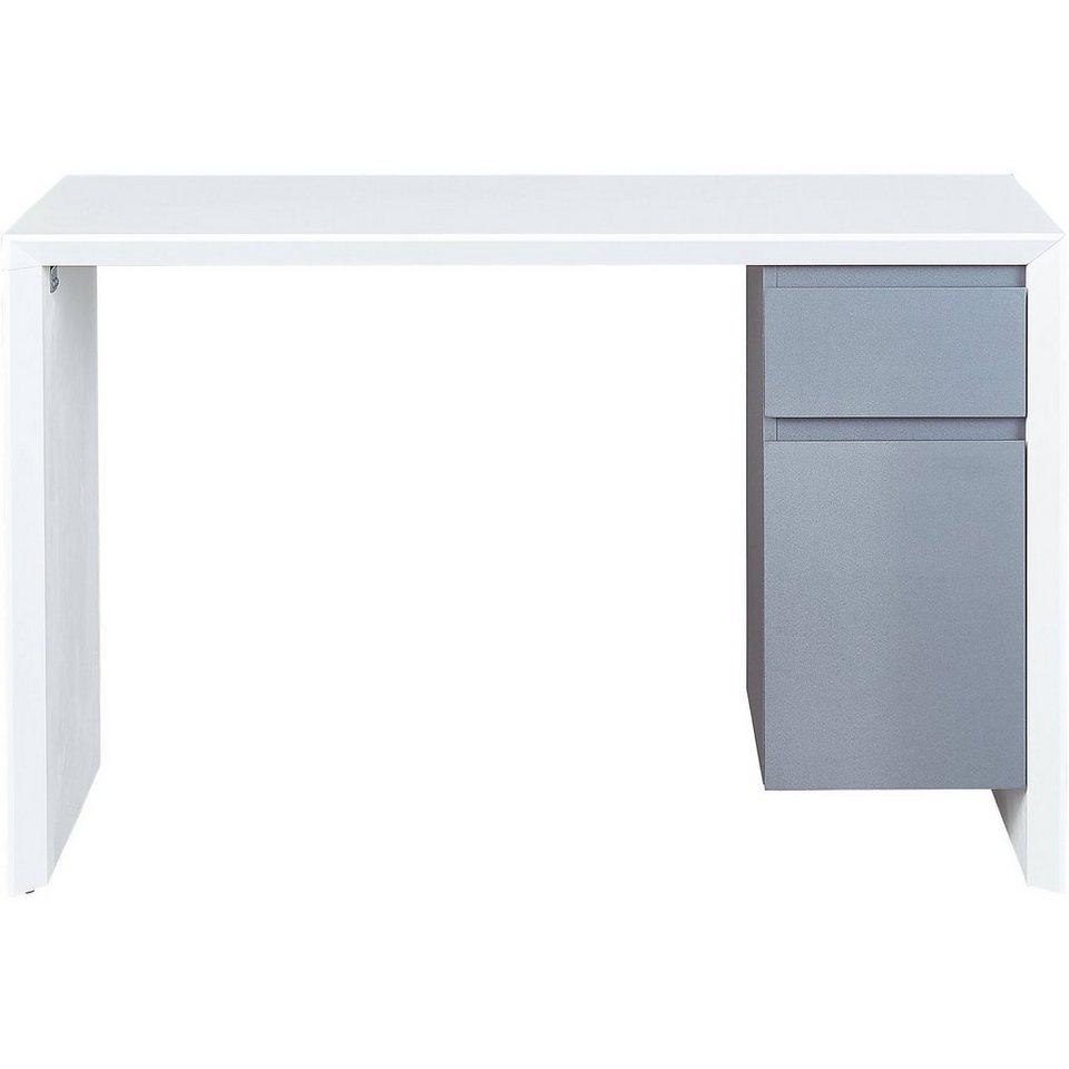 Schreibtisch megara hochglanz pvc wei grau otto for Schreibtisch hochglanz grau