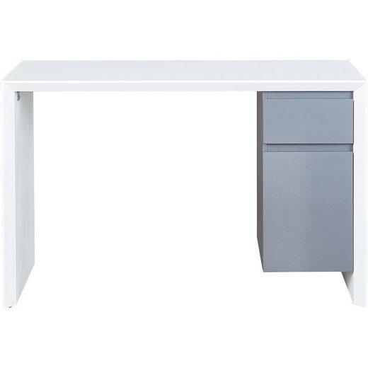 Schreibtisch MEGARA, Hochglanz, PVC, weiß/grau