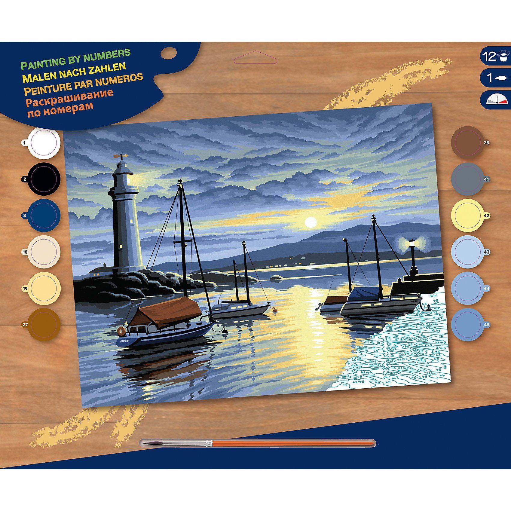 MAMMUT Spiel und Geschenk Malen nach Zahlen Senior Hafen im Sonnenaufgang