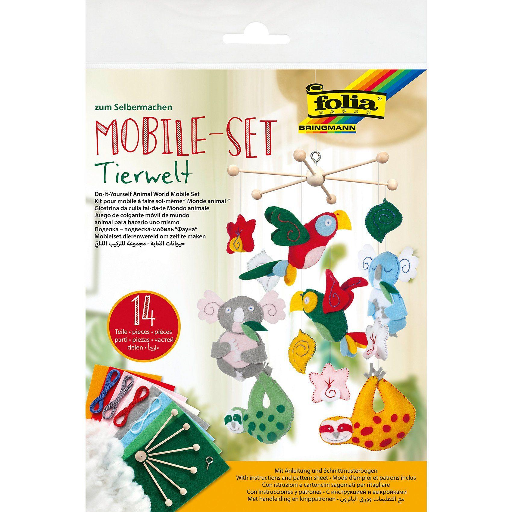 Folia Kreativset Mobile Tierwelt Filz, 14-tlg.