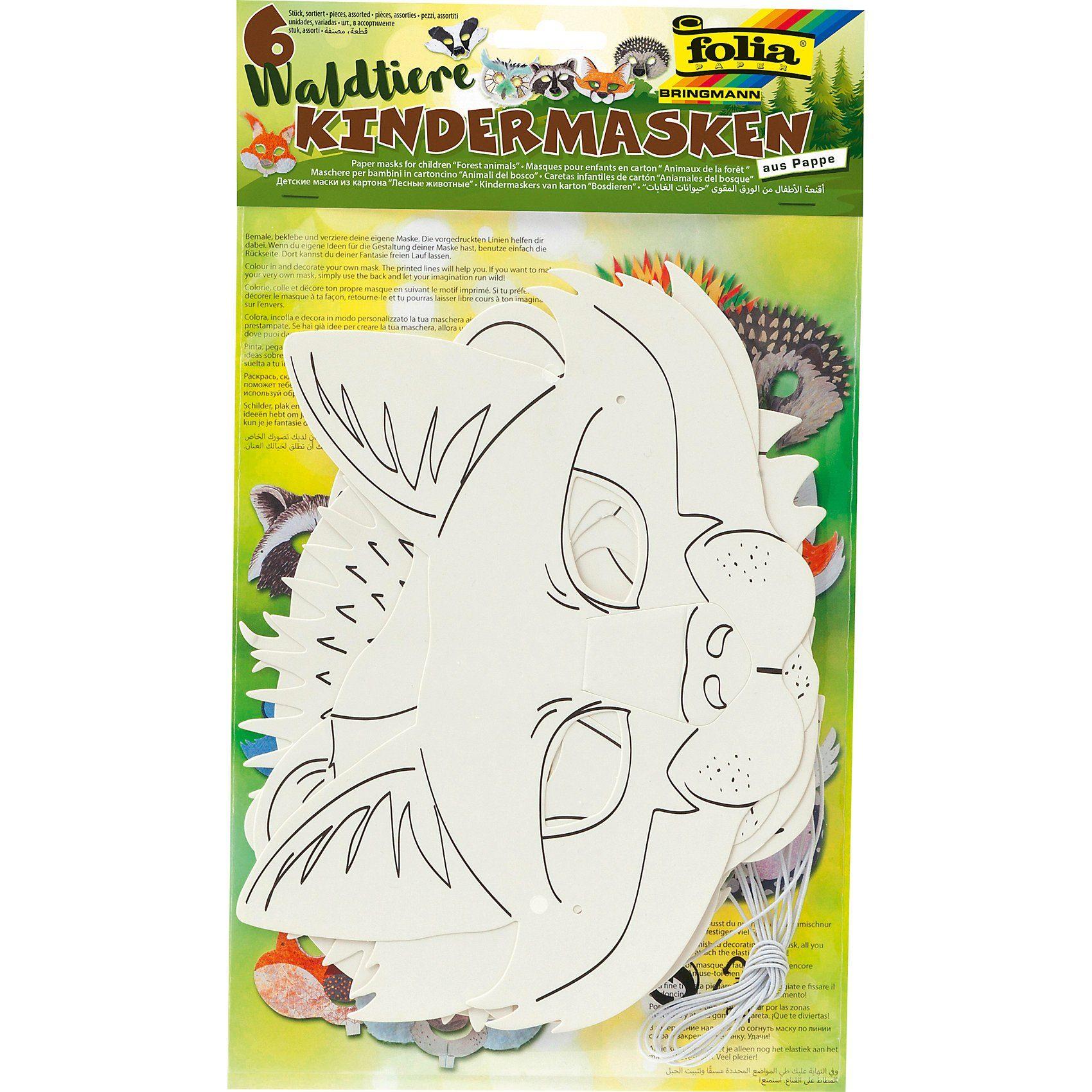 Folia Kindermasken Waldtiere, 6 Stück
